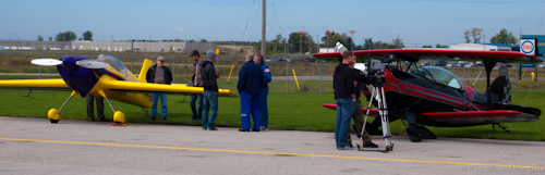 Canadian astronaut Bjarni and son Mike Tryggvason by their aerobatic aircraft at the Jet Aircraft Museum open house